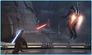 A light sabre battle in Attack of the Clones