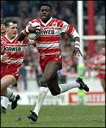 Wigan legend Martin Offiah at the 1993 Challenge Cup final