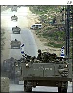 Israeli armoured personnel carriers near Ramallah