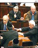 Ariel Sharon with some of his ministers in the Knesset