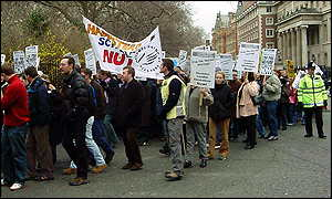 Teachers on a protest in March