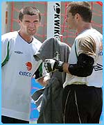 Roy Keane with goalkeeper Shay Given