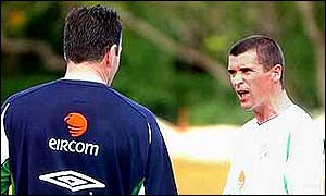 Republic of Ireland captain Roy Keane (right) has a row with goalkeeping coach Packie Bonner