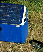 Solar-powered coolbox and light