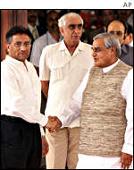 Pakistani president, General Pervez Musharraf and Indian Prime Minister Atal Behari Vajpayee