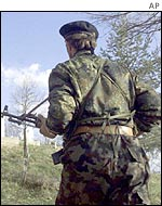 An ethnic Albanian rebel
