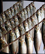 Herring on a rack