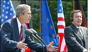 President Bush and Chancellor Schroeder hold a joint news conference after talks in Berlin