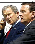 George Bush and Gerhard Schroeder