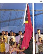 Flag is unfurled on East Timor independence day