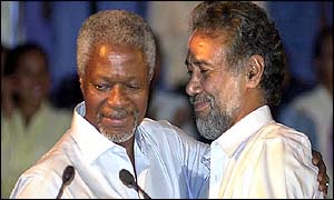 UN Secretary General Kofi Annan (left) with East Timor President Xanana Gusmao