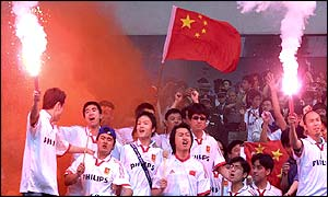 Chinese football fans in Shanghai