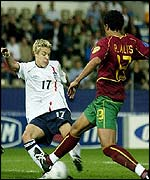 England Under-21 midfielder Alan Smith in action against Portugal on Wednesday