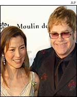 Michelle Yeoh and Sir Elton John