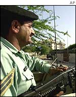 A soldier guards the British Embassy in Islamabad