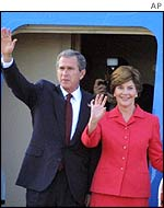 President Bush and Laura Bush arrive in Moscow