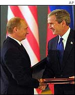 Presidents Putin and Bush