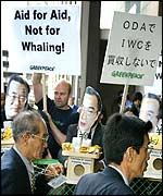 Greenpeace protesters  at Whaling conference