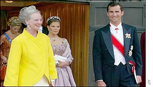 Danish Queen Margrethe (left) and Spanish Crown Prince Felipe (right), and in background Swedish Princess Madeleine (left) and Crown Princess Victoria leave the cathedral