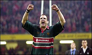 Martin Johnson celebrates the Tigers' European Cup glory