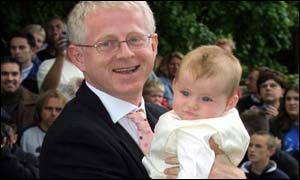 Richard Curtis and son Charlie were guests of bridegroom Matthew Vaughan