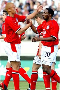 Darius Vassell notched up his third international goal in four appearances