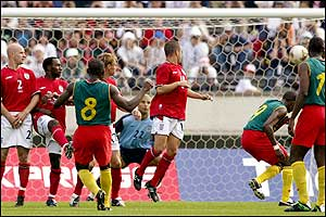 England substitute goalkeeper David James' poor positioning allowed Geremi to score Cameroon's second