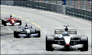 David Coulthard leads Juan Pablo Montoya and Michael Schumacher