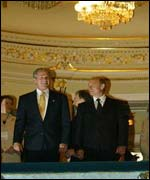 Putin and Bush visit the Mariinsky opera and ballet theatre