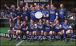 Sale celebrate their Parker Pen Shield victory