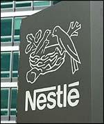 Nestle sign outside Swiss headquarters