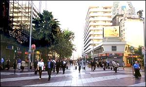 Main pedestrian shopping street in Santiago, Chile