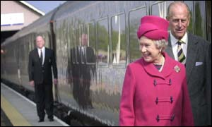 Queen Elizabeth II and Prince Philip prepare to board the Royal Train
