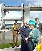 The Queen tours and officially opens the site of the Falkirk Wheel lock in Scotland