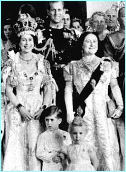 Queen Elizabeth, Prince Phillip, their children, Prince Charles and Princess Anne and The Queen Mother