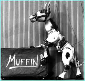 A puppet with strings named Muffin the Mule had all sorts of TV adventures