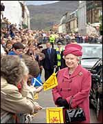 The Queen greets well-wishers in the square at Portree on the Isle of Skye in Scotland