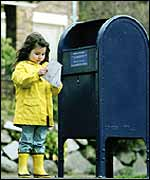 Girl checking her mail