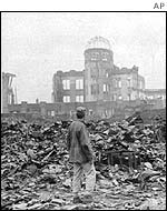 A man amid the devastation left by the nuclear bomb in Hiroshima, 1945