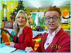 Gaby Roslin and Chris Evans presenting the Big Breakfast