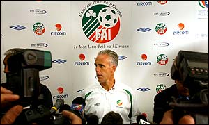 Mick McCarthy at a news conference