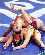 Canada's Claire Carver-Dias (bottom) and Fanny Letourneau