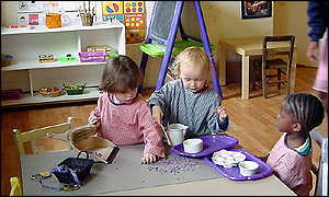 children playing with purple chips