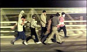 Asylum seekers trying to get to the Channel Tunnel