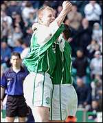 Garry O'Connor celebrates another goal for Hibs