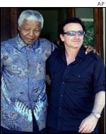 Bono met Mandela to mobilise support