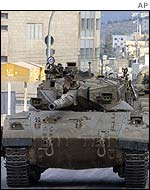 A tank entering Nablus