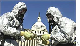 Decontamination workers outside US Capitol