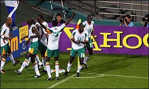 Senegal celebrate their winning goal