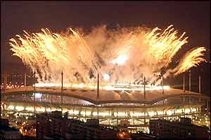 Fireworks spill out of the World Cup Stadium in Seoul